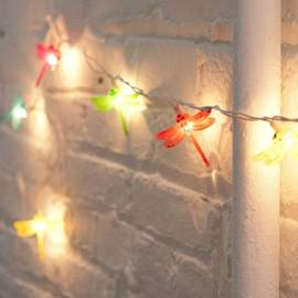 Multicolor Dragonfly Plug-in String Lights