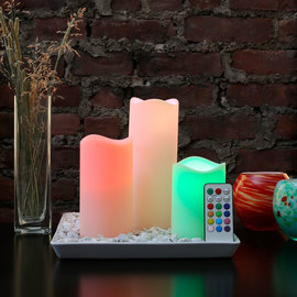 Color Changing Mood Candles with Remote - Set of 3