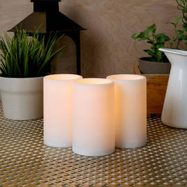 Flat Top White Outdoor Flameless Candles, Set of 3