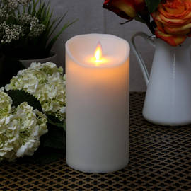 "Moving Flame Ivory 7"" Outdoor Pillar Candle"