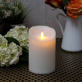 "Moving Flame Ivory 5"" Outdoor Pillar Candle"