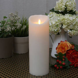 "Ivory Smooth Wax Moving Flame 9"" Pillar Candle"