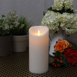 "Ivory Smooth Wax Moving Flame 7"" Pillar Candle"