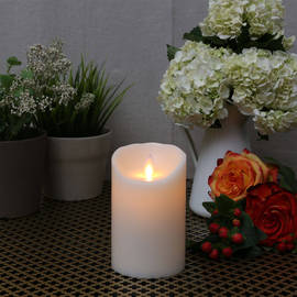 "Ivory Smooth Wax Moving Flame 5"" Pillar Candle"