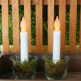 Outdoor Flameless Drip Taper Candles, Set of 2