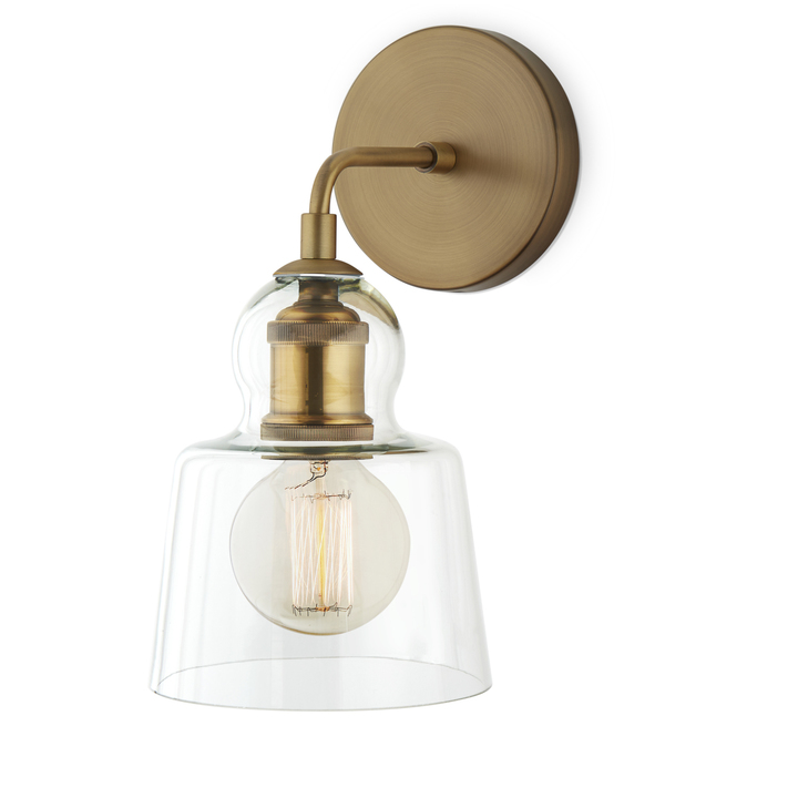 Hoyt Wall Sconce with Tapered Bell Glass, Aged Brass