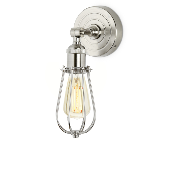 Clifton Wall Sconce with Raindrop Cage, Satin Nickel