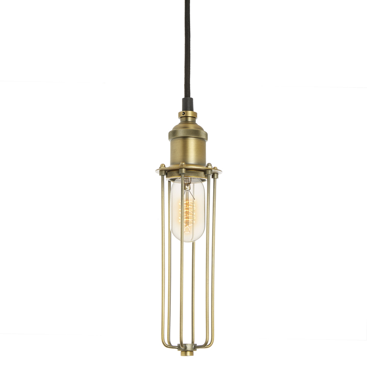 Alton Pendant with Slim Cage, Aged Brass