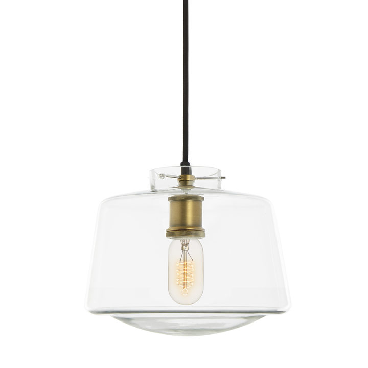Alton Pendant with School House Glass, Aged Brass