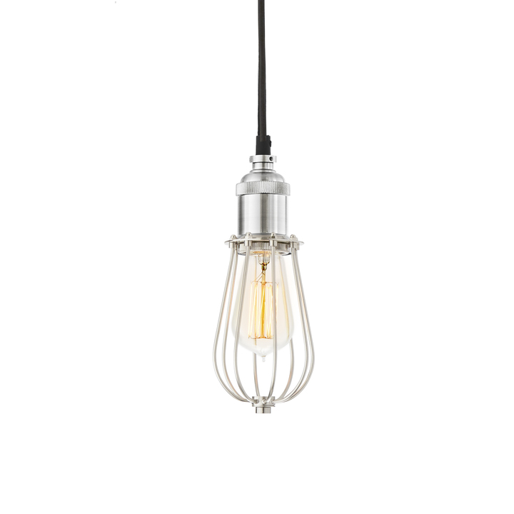 Alton Pendant with Raindrop Cage, Satin Nickel