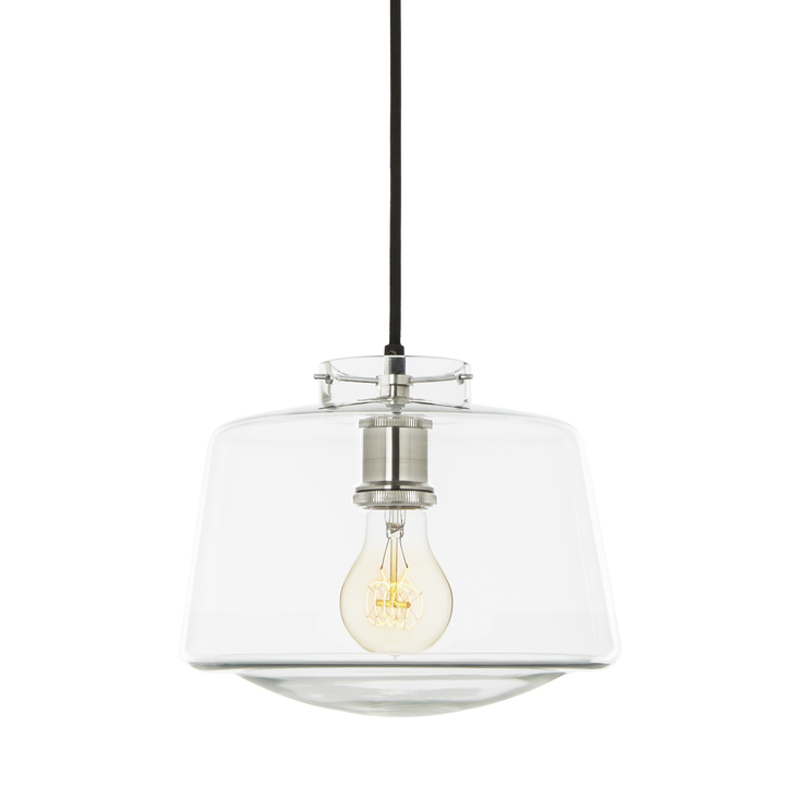 Alton Pendant with School House Glass, Satin Nickel