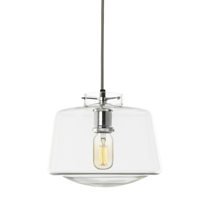 Alton Pendant with School House Glass, Chrome