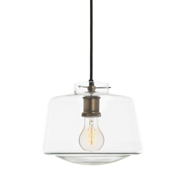 Alton Pendant with School House Glass, Bronze