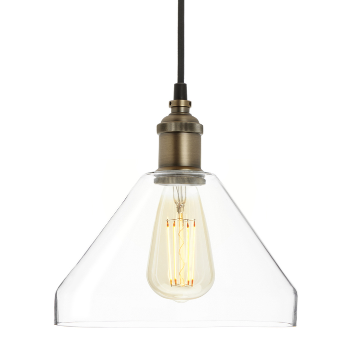 Alton Pendant with Tapered Glass, Bronze