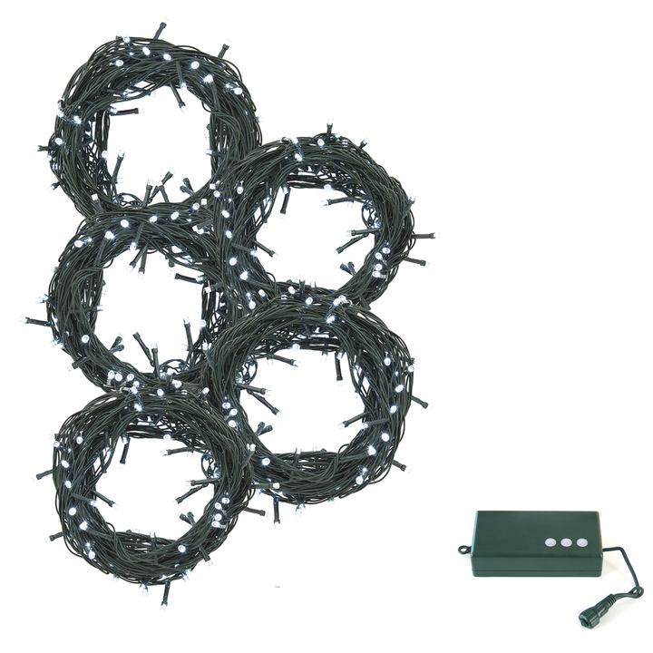 Cool White LED Christmas Lights with D Battery Box, 150 feet