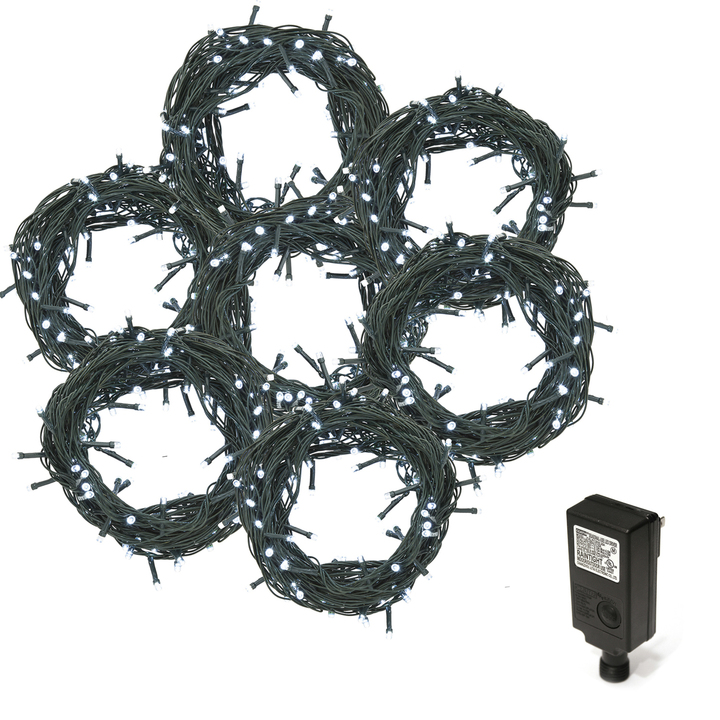 Cool White LED Christmas Lights Plug-In, 210 feet