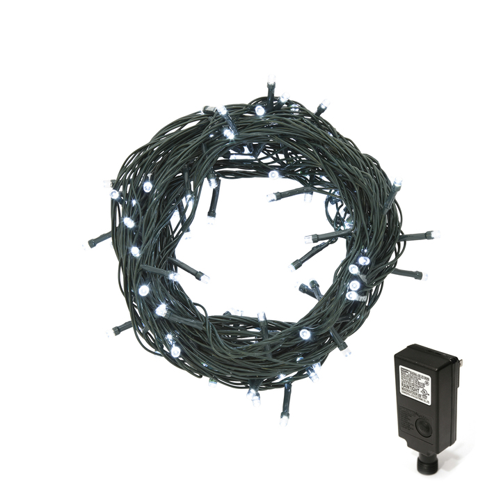 Cool White LED Christmas Lights Plug-In, 30 feet