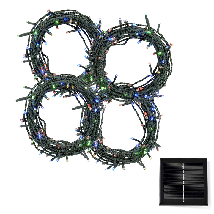 Multicolor LED Christmas Lights with Solar Panel, 120 feet