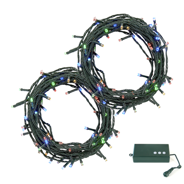 Multicolor LED Christmas Lights with D Battery Box, 60 feet