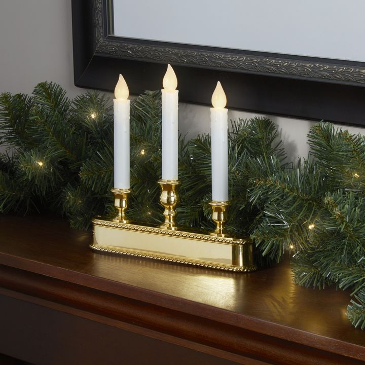 "White and Gold 10"" Flameless Taper Window Candelabra with Auto Sensor"