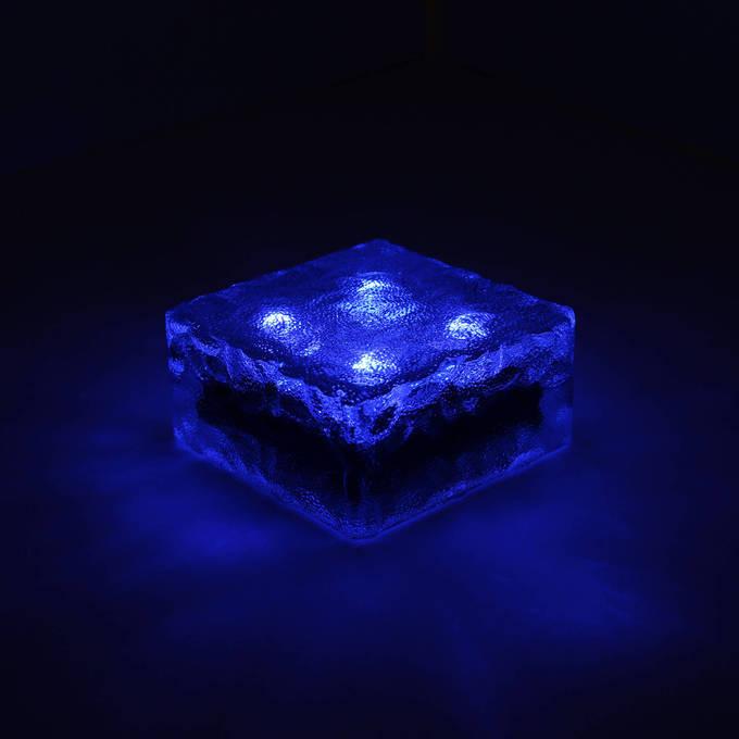 "Iced 4x4"" Solar Brick Light, Cool Blue"