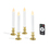 "White 7"" Flameless Taper Candles with Removable Gold Bases, Set of 4"