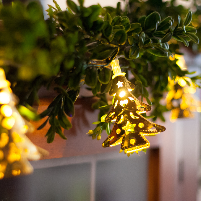 Lights.com | Decor | String Lights | Battery Operated String Lights | Gold Christmas Tree Battery String Lights, Strand of 10