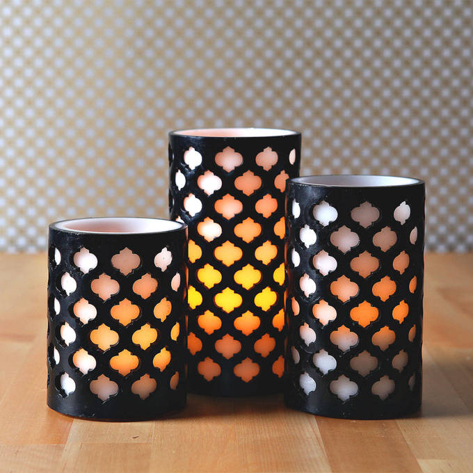 Lights Decor Flameless Candles Pillar Moroccan Gate Wax Candle Trio With Timer