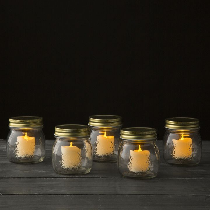 Countryside Flameless Votives and Mason Jars, Set of 5