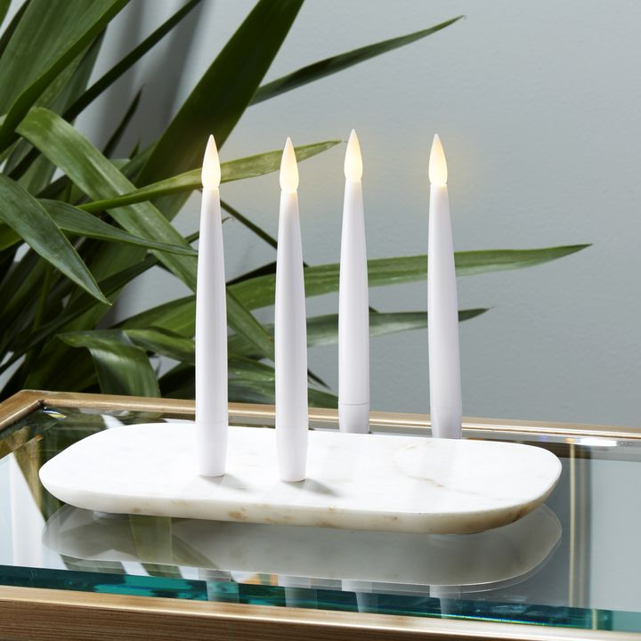 """Smooth White 6"""" Resin Taper Candles with Remote, Set of 4"""