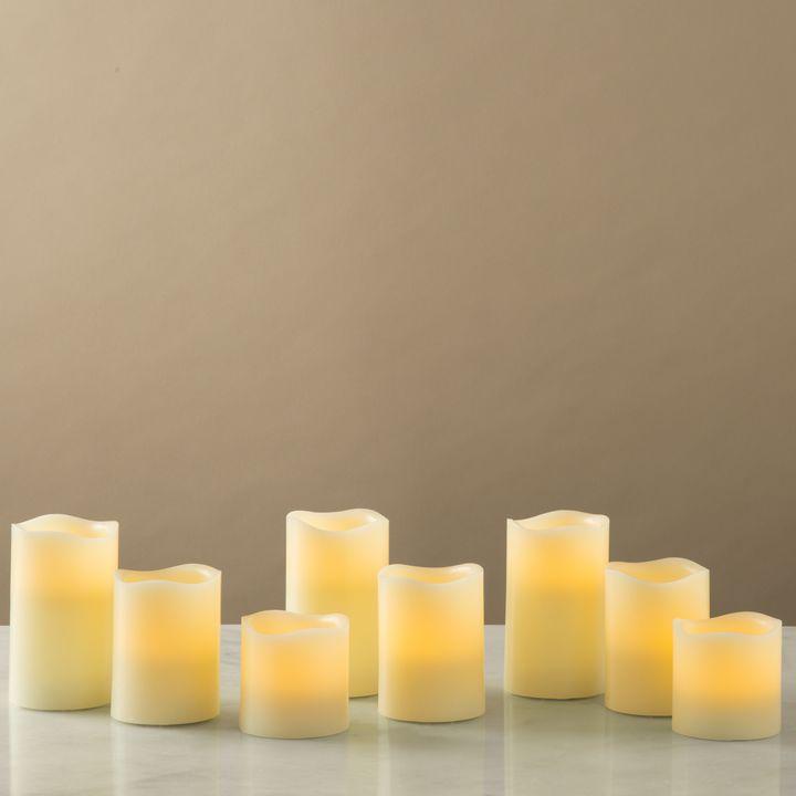 Cream Melted-Edge Flameless Pillar Candles, Set of 8