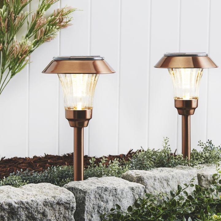 Sulis Copper Solar Path Lights, Set of 4