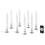 """White 7"""" Flameless Resin Taper Candles with Removable Silver Bases, Set of 8"""