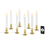 "White 7"" Flameless Resin Taper Candles with Removable Gold Bases, Set of 8"