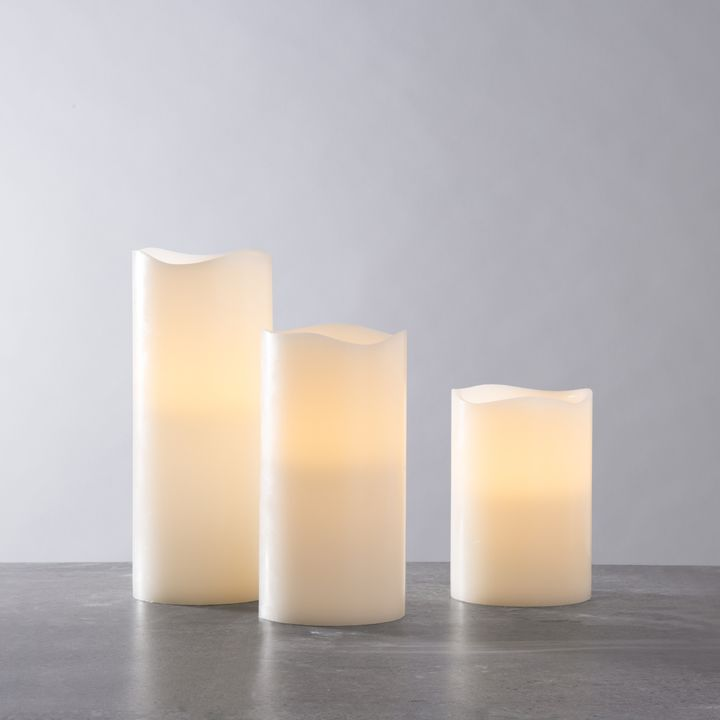 Ivory Melted-Edge Flameless Pillar Candles, Set of 3