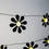 Black Daisy 8 LED Battery Operated String Lights, Set of 3