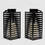 "Black Metal Slat 12"" Warm White Flameless Lantern, Set of 2"