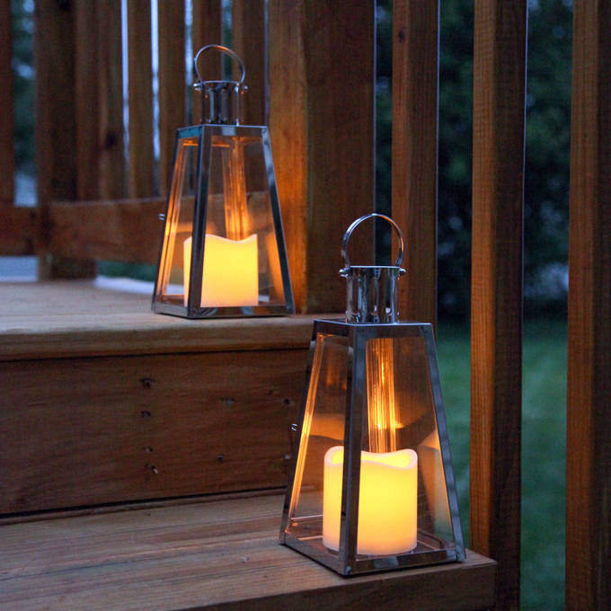 Stainless Steel Glass Paneled Flameless Lantern with Timer, Set of 2