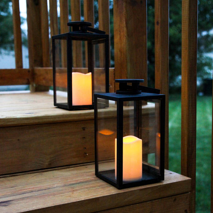 "Tall Glass Paneled 11"" Black Metal Flameless Lantern with Timer, Set of 2"