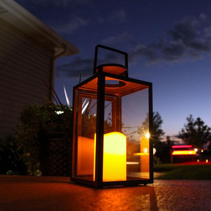 "Tall Glass Paneled 11"" Black Metal Flameless Lantern with Timer, Set of 2"