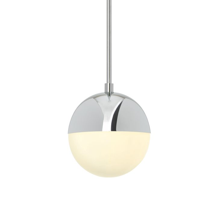 "Powell 7"" Pendant with White Globe, Chrome - E26"