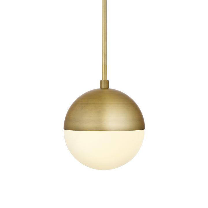 "Powell LED 7"" Aged Brass Globe Pendant"