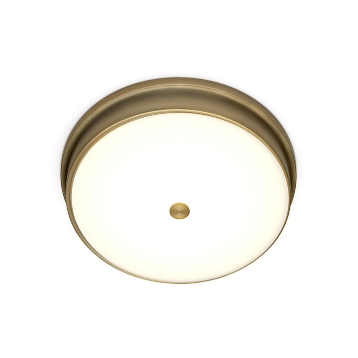 "Abbey 15"" LED Flush Mount, Aged Brass"