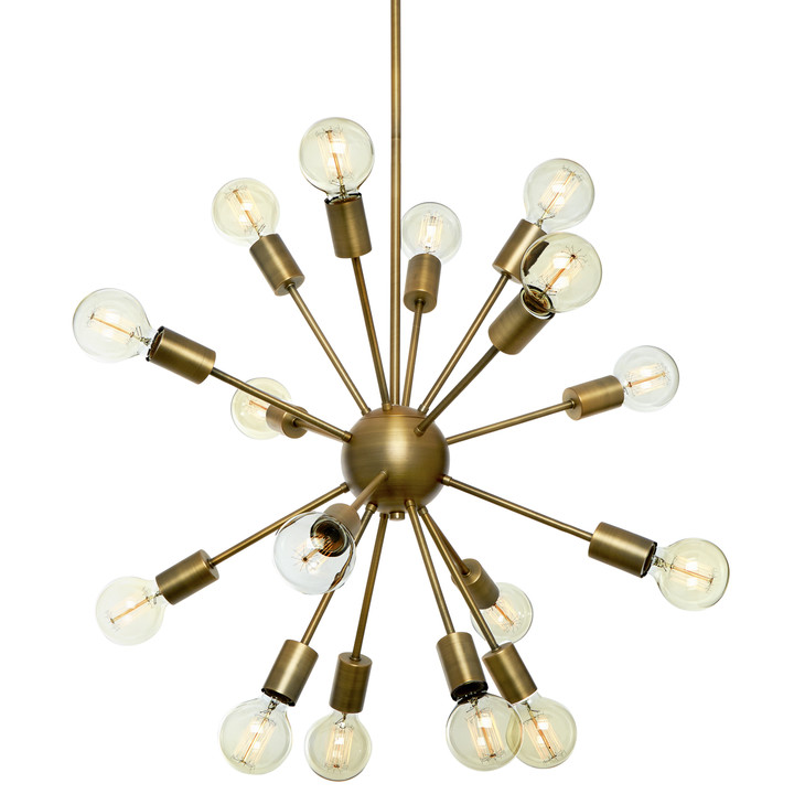 16-Light Aged Brass Sputnik Chandelier