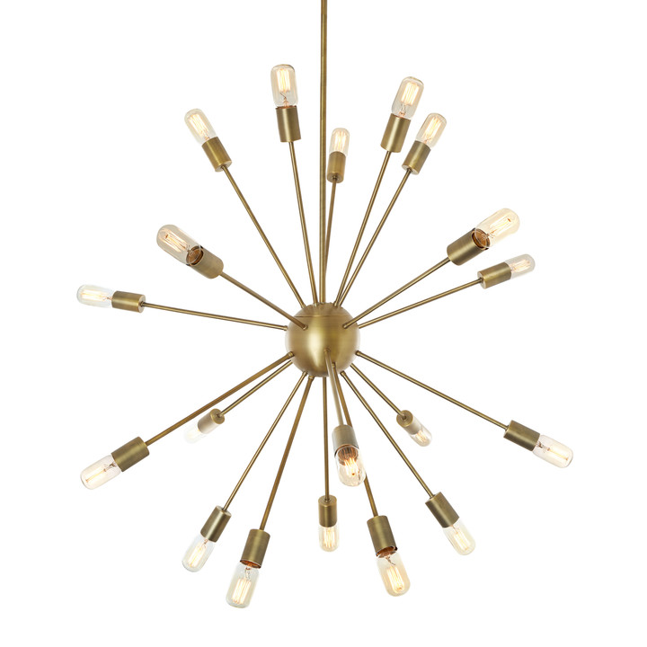 20-Light Aged Brass Sputnik Chandelier