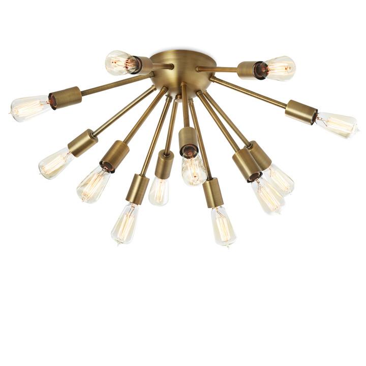 12-Light Aged Brass Sputnik Flush Mount