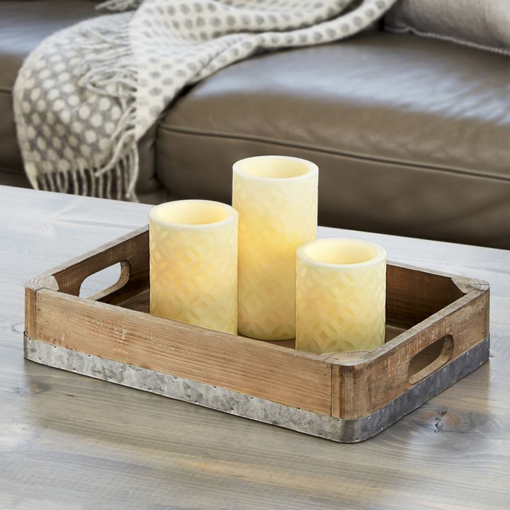 Trellis Carved Ivory Pillar Candles, Set of 3