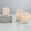 Geometric Silver Pillar Candles, Set of 3