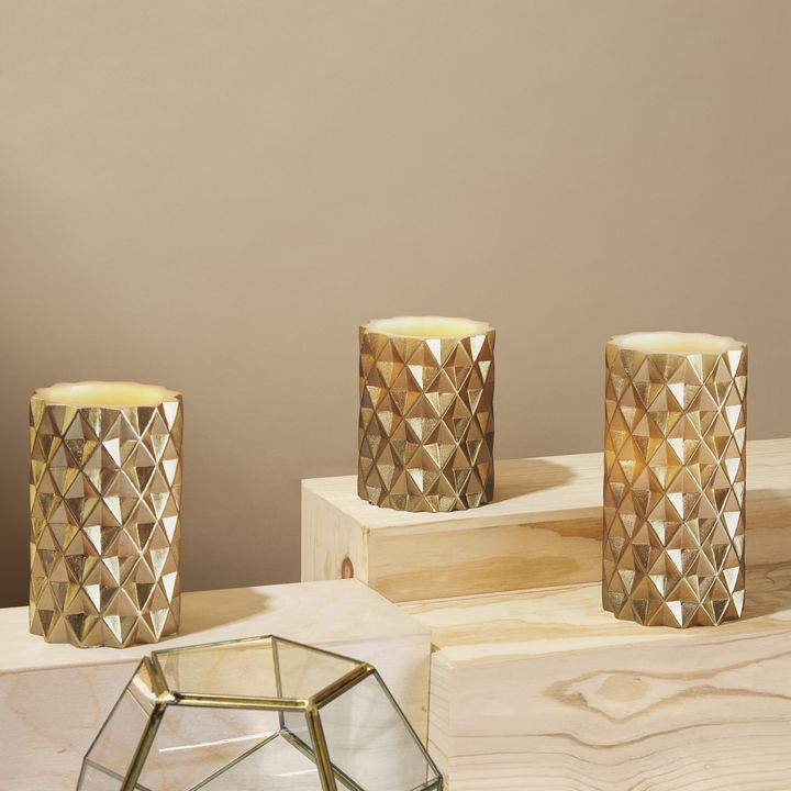Geometric Gold Pillar Candles, Set of 3