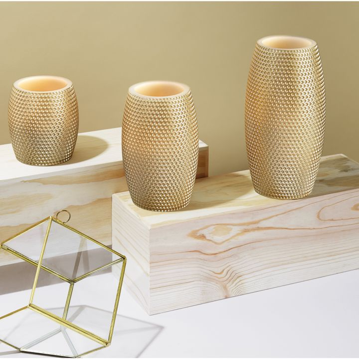 Round Gold Honeycomb Carved Candles, Set of 3